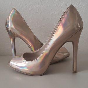 Shiny nude heels